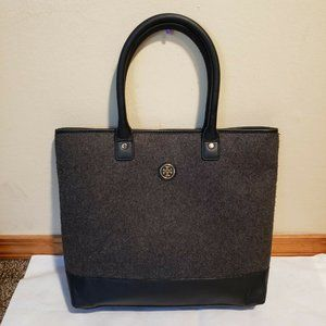 Tory Burch Tote Bag Felted Wool & Leather